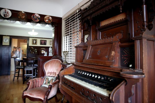 A pump organ in a common area in an Airbnb that is licensed with the city of Salem. Photographed in Northeast Salem on Thursday, Aug. 9, 2018.