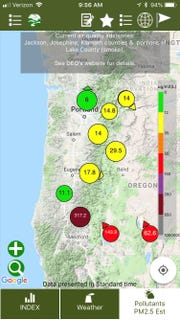 Screenshot of the OregonAir app which displays air quality data from monitoring stations around the state.