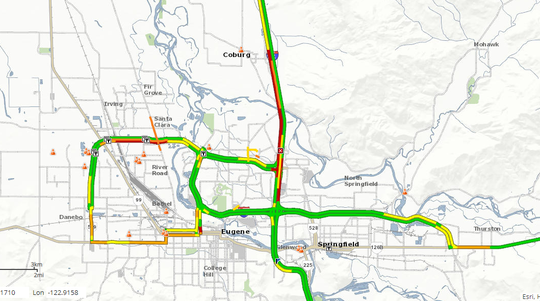Southbound I-5 is closed in Eugene due to a grass fire.