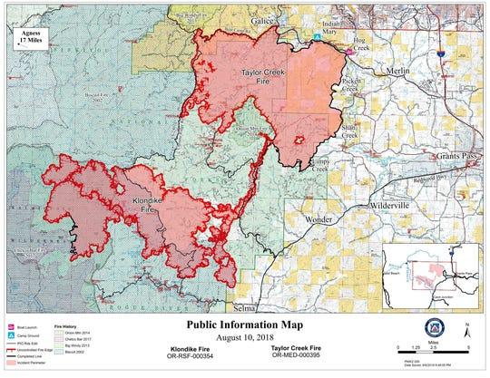 Boundary of the Klondike Fire near Selma, Oregon