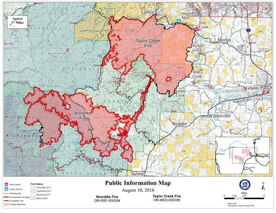 Map showing the Taylor Creek and Klondike fires west of Grants Pass.
