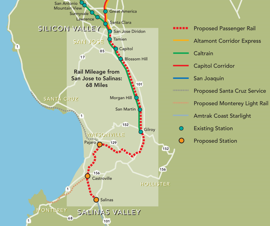 Current and proposed transit lines that serve the region.