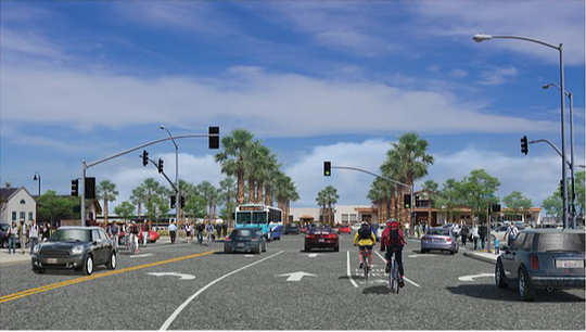 A simulation of the Lincoln Avenue station going to the Salinas Train Station.