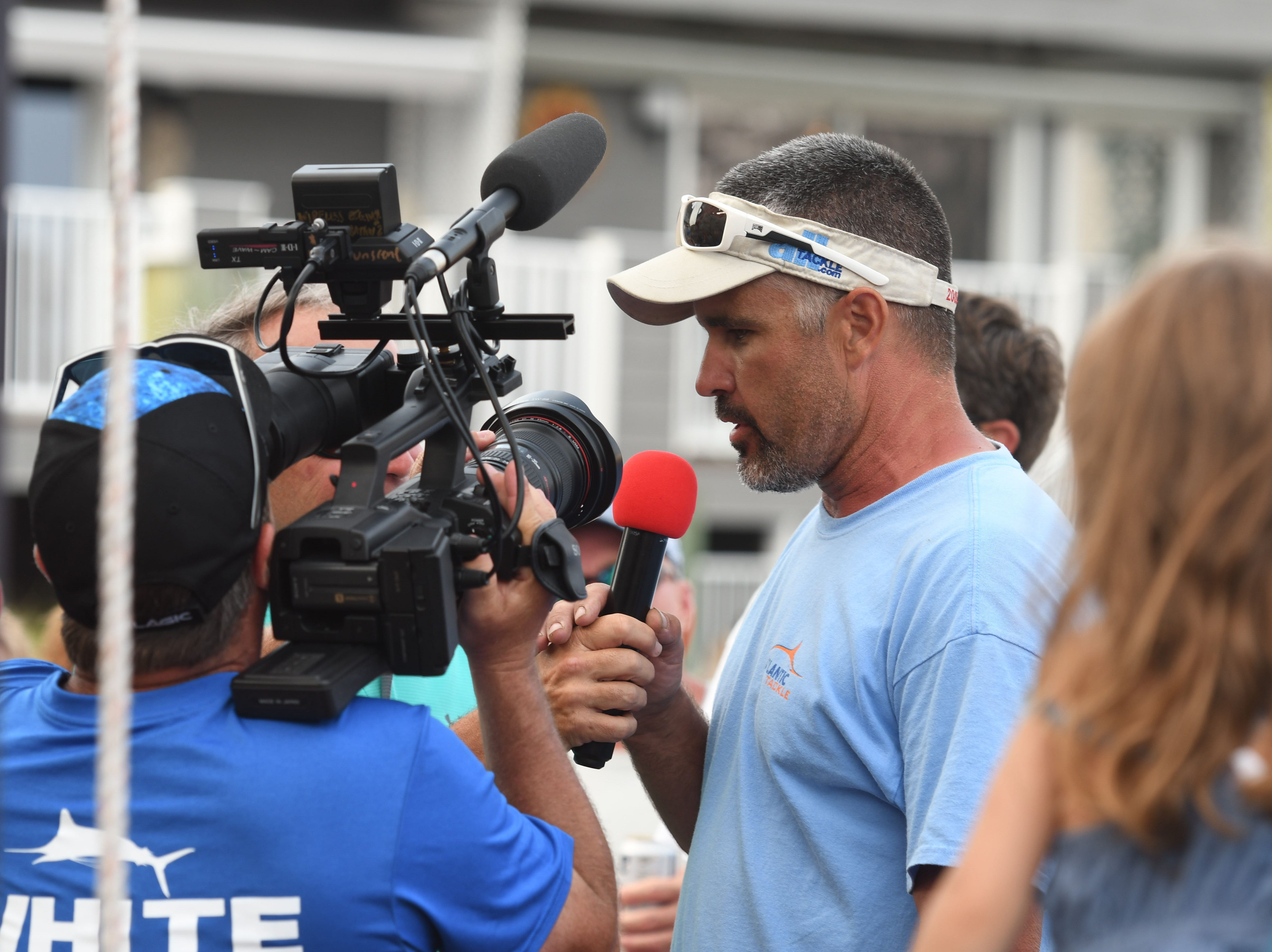 Angler Kevin Graybill talks about his 63 pound Wahoo that was caught aboard the Over Board. It now takes over the first place spot during 45th Annual White Marlin Open in Ocean City, Md. on Friday, August 10, 2018.