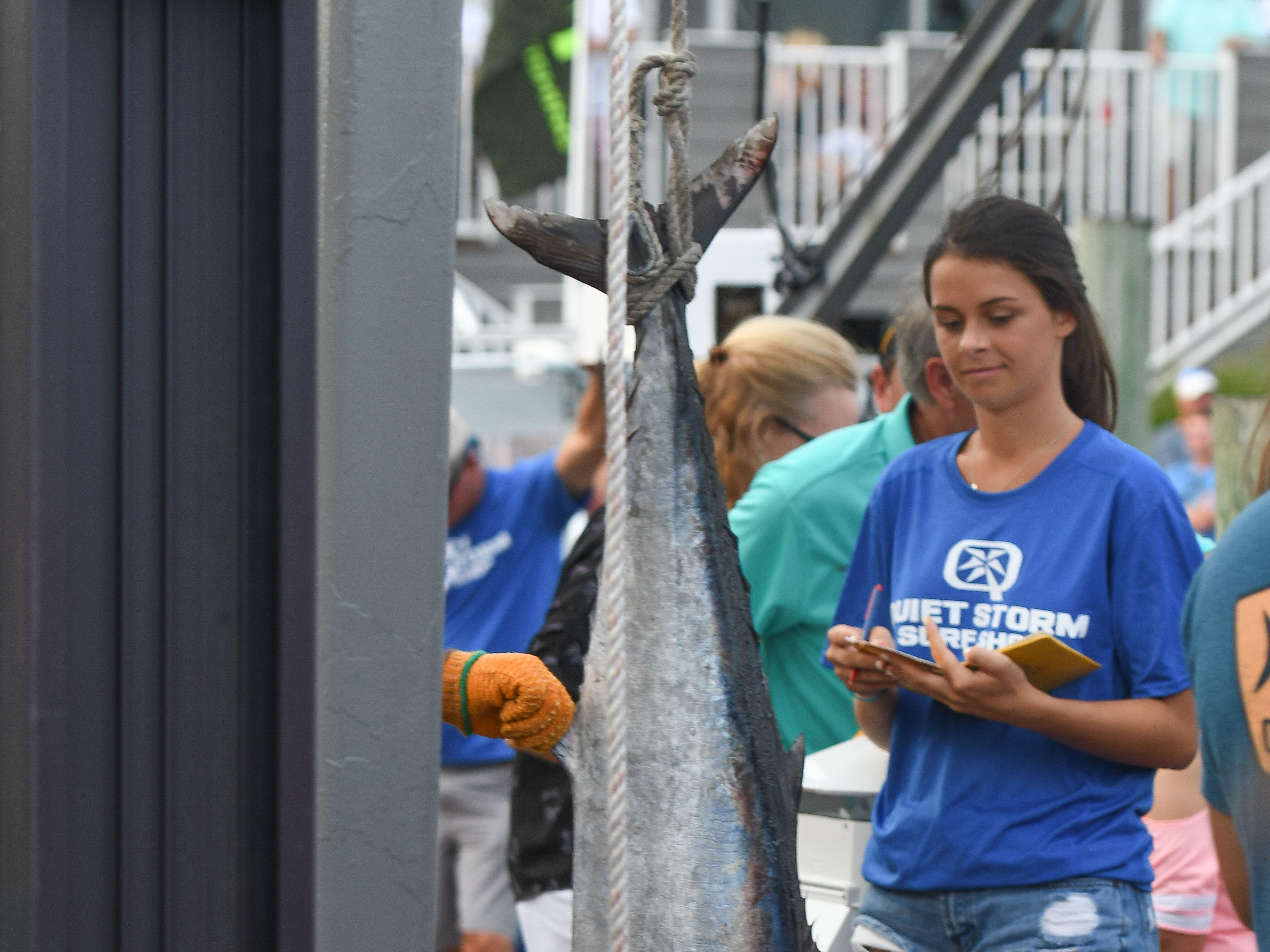 A 63 pound Wahoo was caught aboard the Over Board taking over the first place spot during 45th Annual White Marlin Open in Ocean City, Md. on Friday, August 10, 2018.
