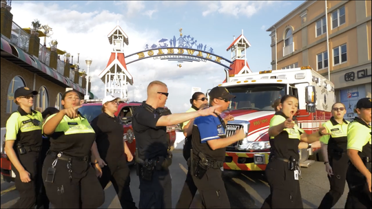 Ocean City's police department participate in the lip sync challenge near the Boardwalk.