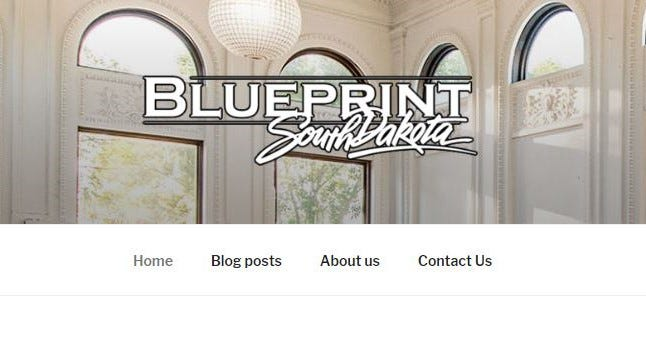 A screenshot of the logo and cover image of the Blueprint South Dakota blog logo.
