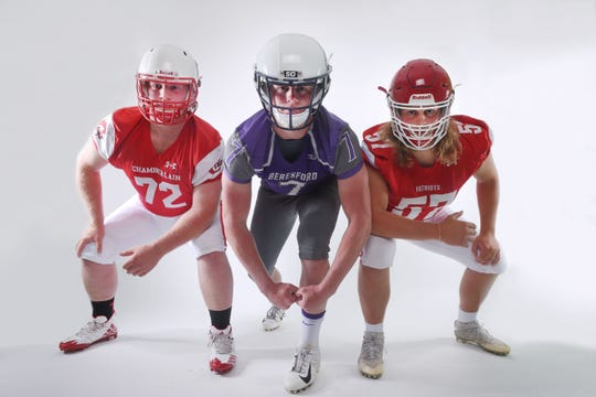 Chamberlain lineman Nash Hutmacher, from left, Beresford lineman Blake Peterson and Lincoln lineman Grant Treiber during football media day Tuesday, Aug 7, at Argus Leader Media in Sioux Falls.