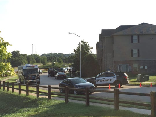 Police have surrounded an apartment complex in south Springfield Friday morning, August 10, 2018.