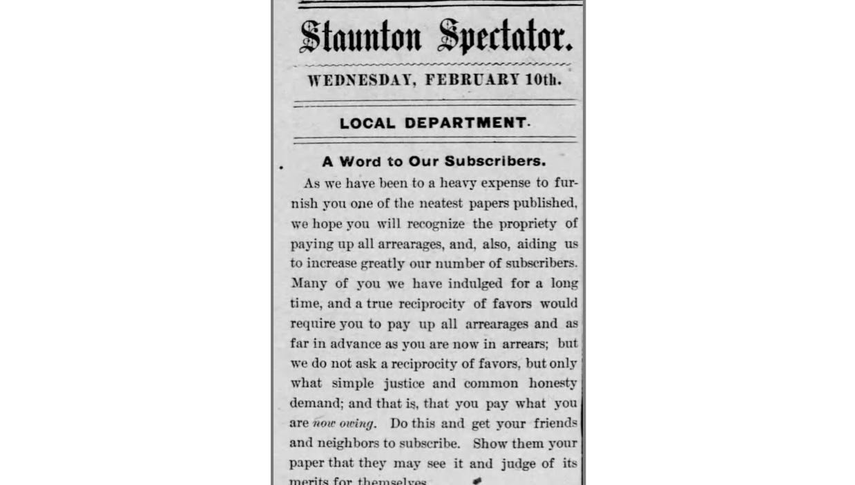 Clipping from Staunton Spectator
