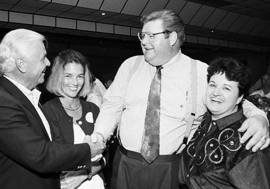 November 3, 1992 - Co-campaign managers Ital and Bonnie Vero (from left), congratulate Sheriff-elect Gary Wheeler and his wife Donna after Gary Wheeler overcame incumbent Tim Dobeck in the September primaries, then beat Warren T. Zeuch III by a 2-1 margin in the November general election to win the Indian River County Sheriff's race.