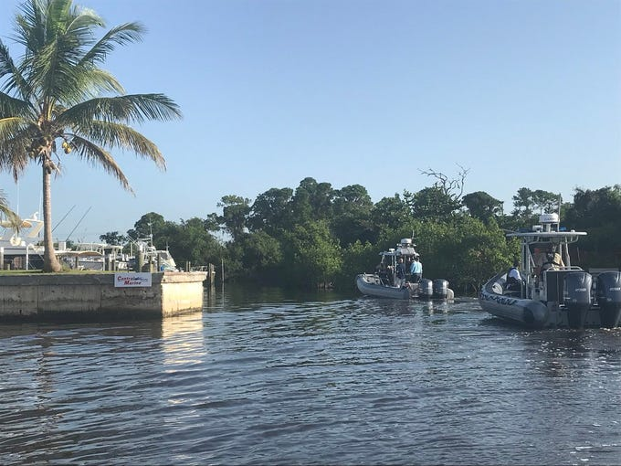 Boat carrying Gov. Rick Scott enters Central Marine, where algae is abundant. It staying in the area about 30 seconds.