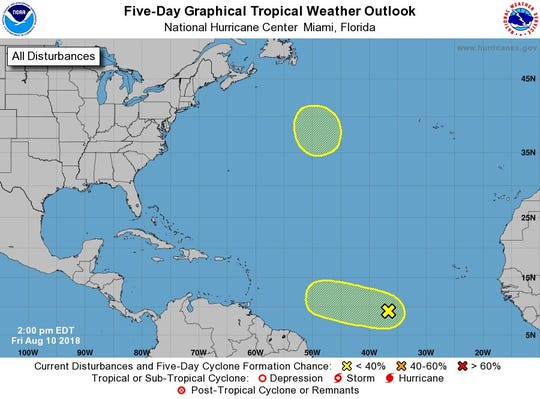 Tropics 2 p.m. Aug. 10, 2018.