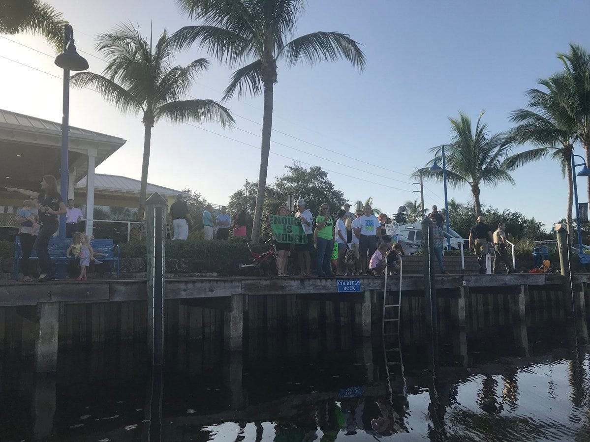 Scene from Stuart Aug. 10, 2018, where Gov. Rick Scott was scheduled to appear being touring area waterways affected by blue-green algae.