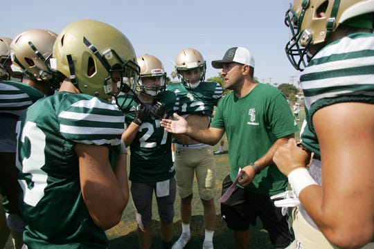 Head coach Tony Henney gives instructions to his team during a St. Bonaventure practice on Thursday. The Seraphs will have their hands full in a stacked Marmonte League this season.