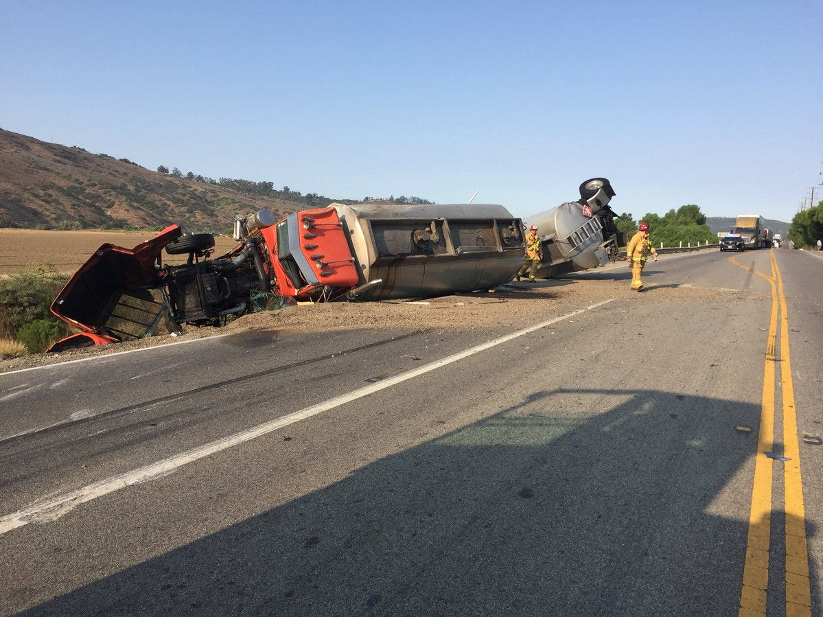 A tanker truck rolled over on Highway 118 on the morning of Aug. 10 west of Balcom Canyon Road.