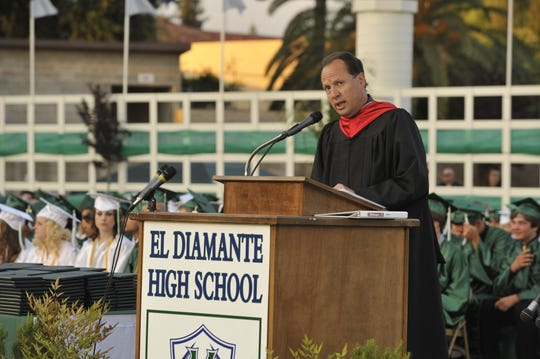 In this file photo, former El Diamante High School Principal Mike Waters speaks to graduates. Waters will fill in as interim Valley Oak Middle School principal this fall.
