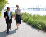 Democratic gubernatorial hopeful Cynthia Nixon questioned the sense in naming the new Tappan Zee Bridge after Mario Cuomo during a press conference at Pierson Riverfront Park Riverwalk in Tarrytown.