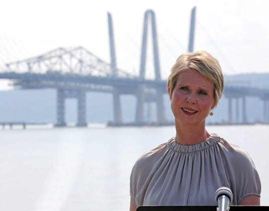 """We need much more transparency, we need much more local participation, not just a governor who does things behind closed doors that we don't find out about until they're all done,"" said Cynthia Nixon at a press conference at Pierson Riverfront Park Riverwalk in Tarrytown Aug. 10, 2018."