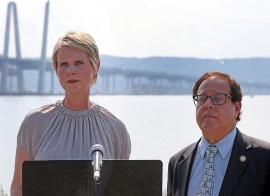 Assemblyman Tom Abinanti announces he is endorsing former Sex and the City star, Cynthia Nixon in her bid to become governor at 	Pierson Riverfront Park Riverwalk in Tarrytown Aug. 10, 2018.