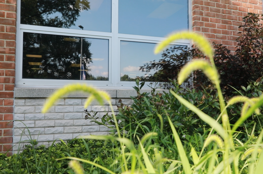 A view of the new protective glass on all of the lower windows at Rockland Boces in West Nyack.