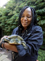 Stephanie Hartwell-Mandella, head of youth services at the Katonah Library, holds Tina, a 26-year old River Cooter turtle that has lived at the library for almost her entire life. Turtles like Tina, photographed Aug. 10, 2018 can live for forty years. The library as begun a fundraising effort to raise money to purchase a larger tank for Tina, as well as an outdoor enclosure.