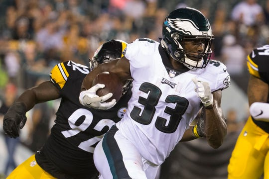 Eagles rookie running back Josh Adams had 30 yards on six carries Thursday night against the Steelers.