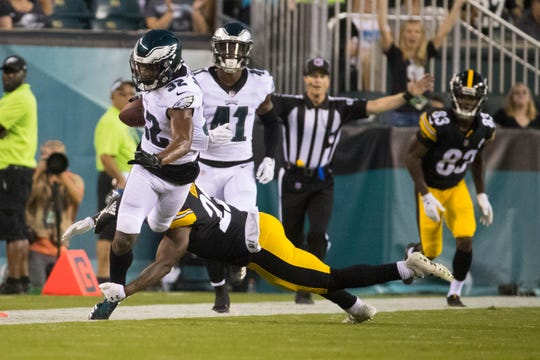 Eagles' Rasul Douglas (32) breaks downfield after making an interception Thursday at Lincoln Financial Field.
