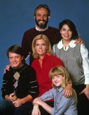 The cast of FAMILY TIES.  Pictured clockwise from top: Michael Gross, Justine Bateman, Tina Yothers, Meredith Baxter, Michael J. Fox.