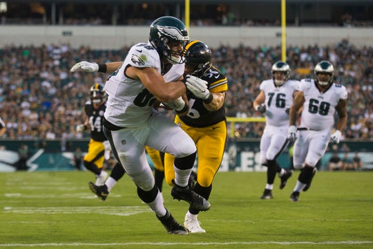 Eagles' Dallas Goedert (88) makes a reception for a touchdown in a preseason game vs. the Steelers at Lincoln Financial Field.