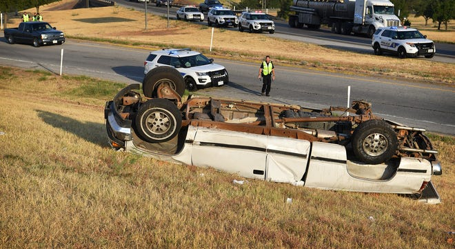 Wichita Falls Police investigate a one-vehicle rollover accident early Friday morning at the Windthorst Road on ramp near U.S. Highway 287 eastbound. The driver was ejected from the vehicle and suffered life-threatening injuries.