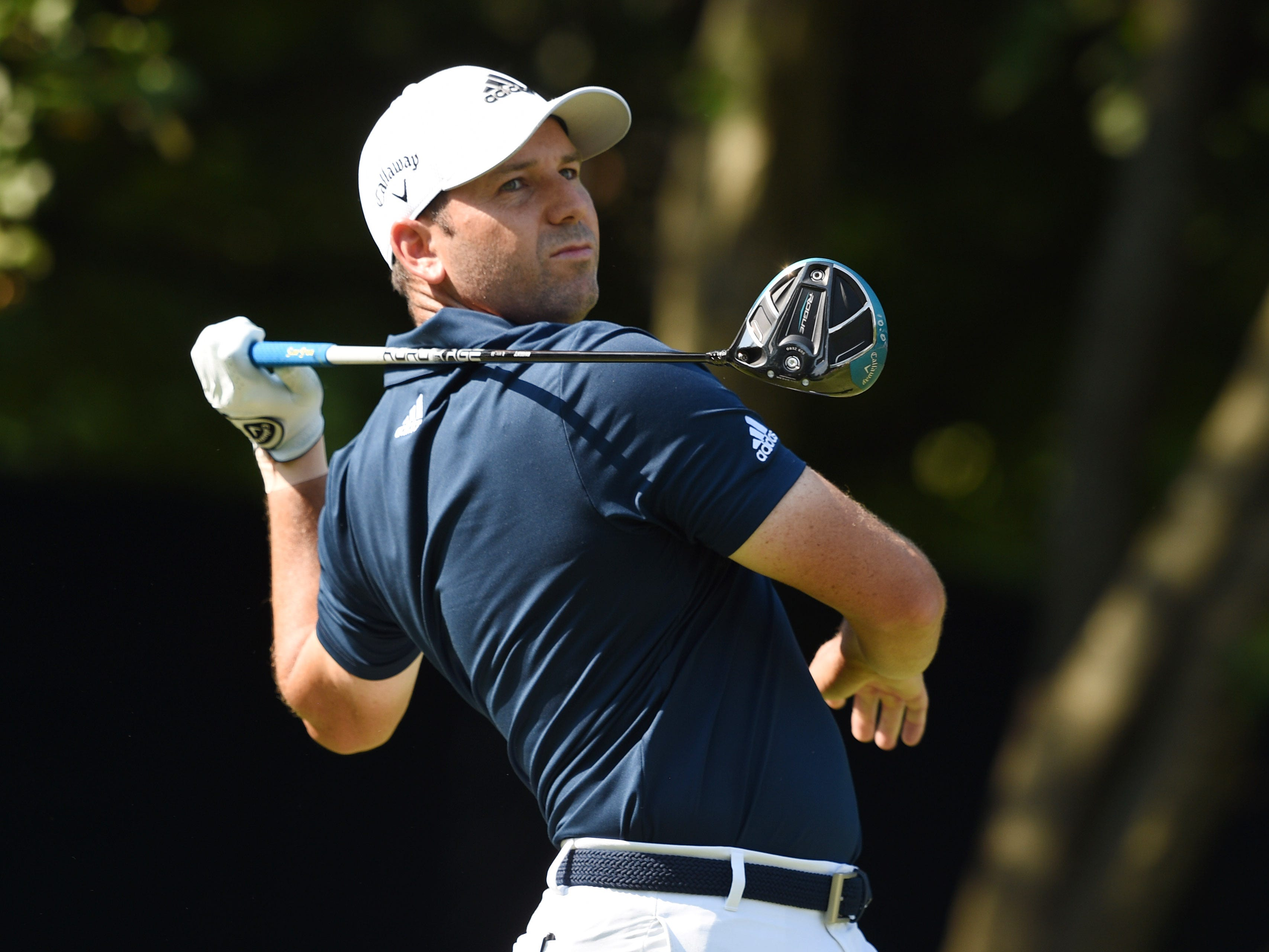 Sergio Garcia reacts after his tee shot on the 18th hole during the second round.