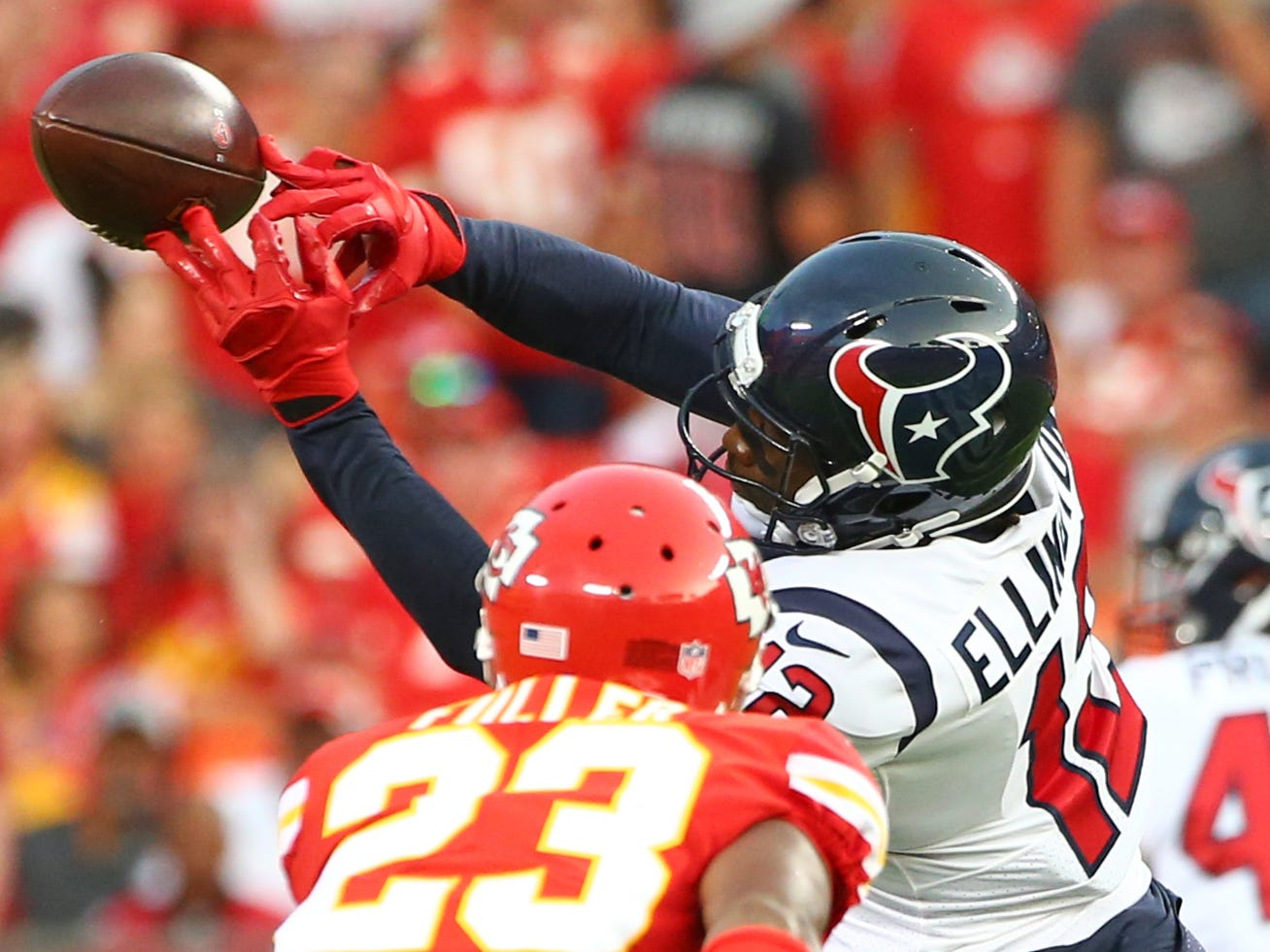 Houston Texans wide receiver Bruce Ellington (12) is unable to make the catch as Kansas City Chiefs cornerback Kendall Fuller (23) defends in the first half at Arrowhead Stadium.