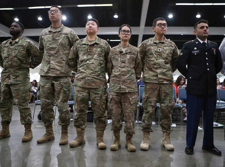 U.S. military members at naturalization ceremony in Los Angeles on July 25, 2018.