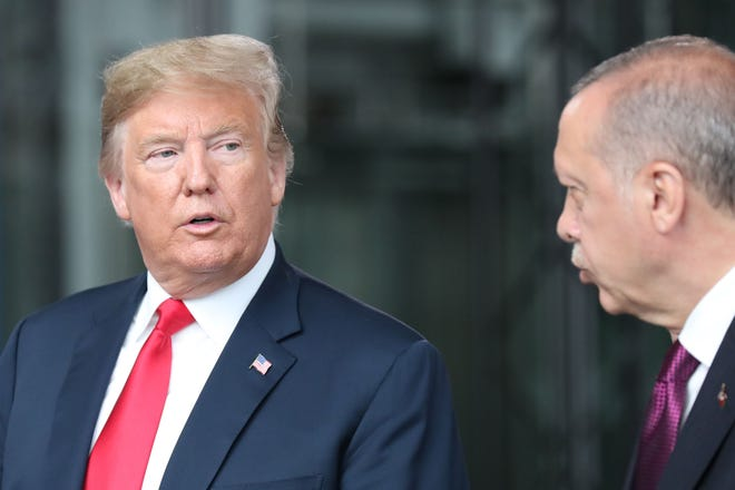 President Donald Trump and Turkey President Recep Tayyip Erdogan at last month's NATO conference in Brussels.