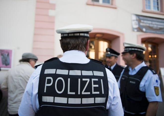 File picture of policemen in Konstanz, Germany, 20 April 2018.