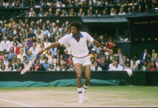 Arthur Ashe at Wimbledon in England, in an undated photo.