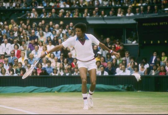 Arthur Ashe at Wimbledon in England, in an undated photo.
