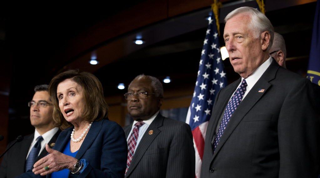 Rep. Xavier Becerra, House Minority Leader Nancy Pelosi, Rep. James Clyburn and House Minority Whip Steny Hoyer in Washington, D.C., on May 11, 2016.