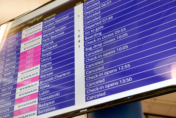 A flight information board shows many canceled Ryanair flights at Skavsta Airport in Stockholm, Sweden, on Friday Aug. 10, 2018. Ryanair's pilots staged a 24-hour strike Friday.