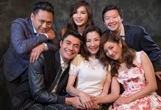"**** SECONDARY ART or PROMO **** 8/5/18 5:16:06 PM -- Beverly Hills, CA, U.S.A .: Portrait of the director and cast of ""Crazy Rich Asians"" (L-R): Director Jon M Chu,  Henry Golding,Gemma Chan,, Michelle Yeoh, Constance Wu and Ken Jeong. The film is an adaptation of  the best selling book of the same name and it is the first major studio film featuring an all-Asian cast since ""The Joy Luck Club"" 25 years ago. Photo by Robert Hanashiro, USA TODAY Staff