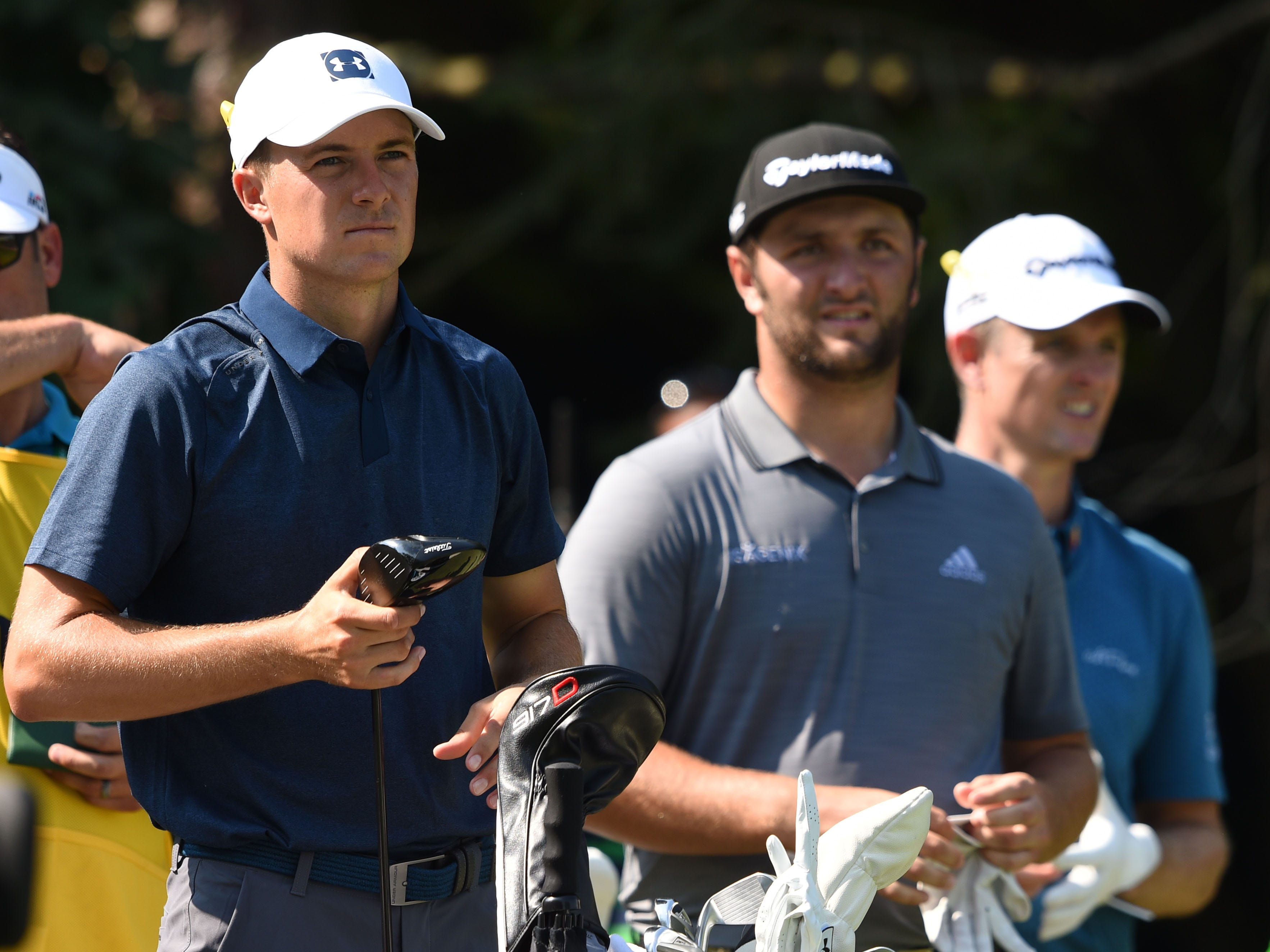Jordan Spieth  and Jon Rahm on the 18th tee during the second round.