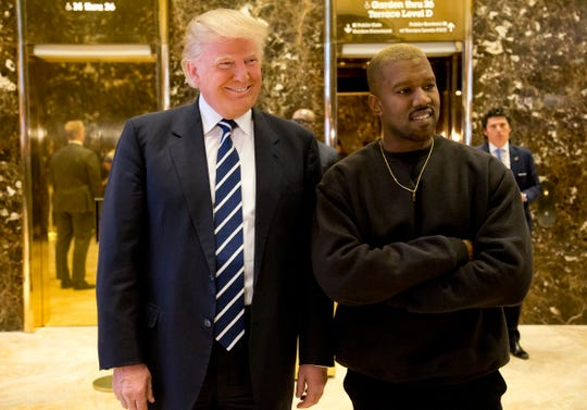 "Kanye West, with President Trump in 2016, talked about our nation's leader on ""Jimmy Kimmel Live!"" Thursday."