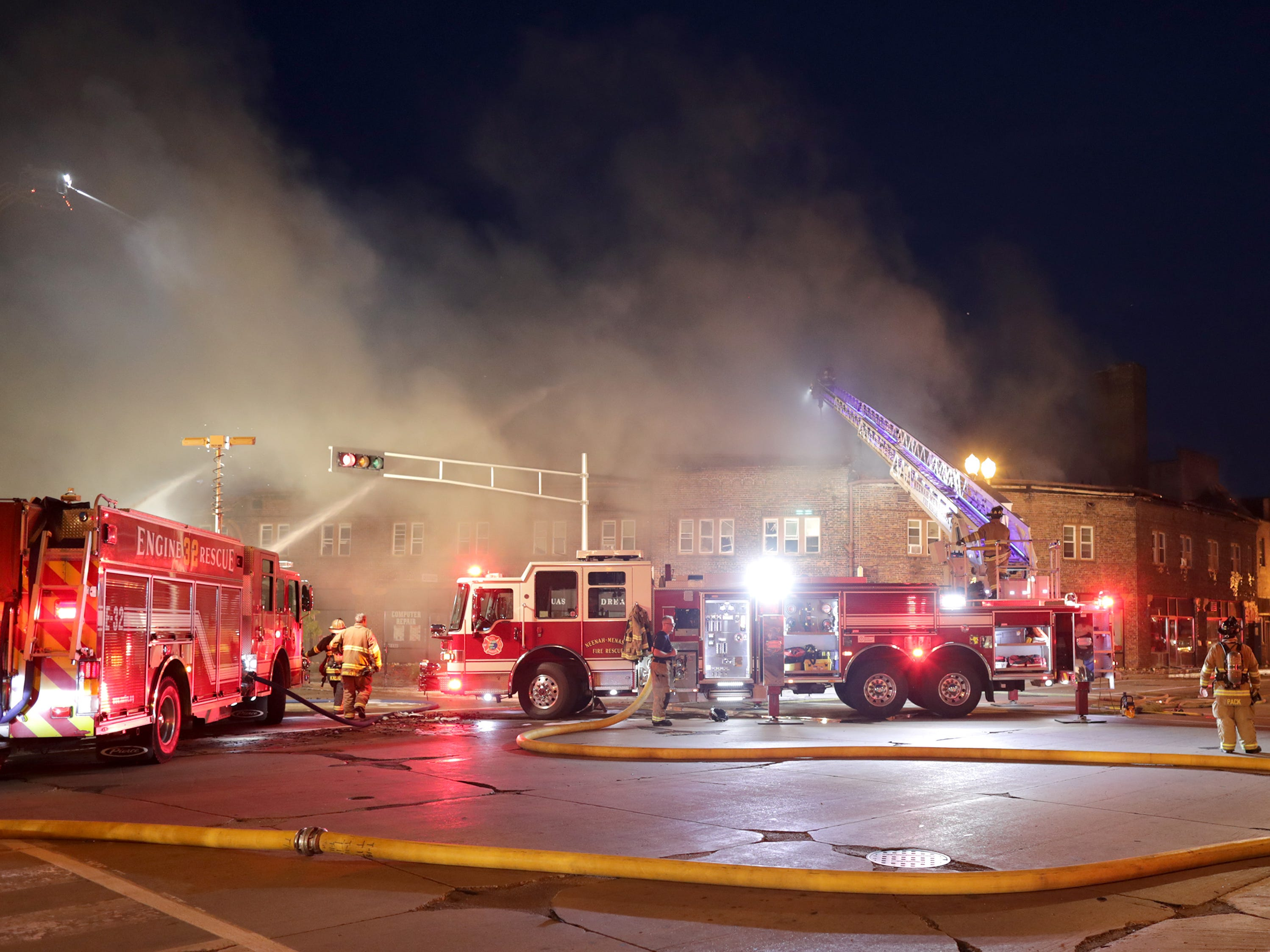 Firefighters were on the scene until early Saturday morning as they battled a blaze in downtown Menasha.