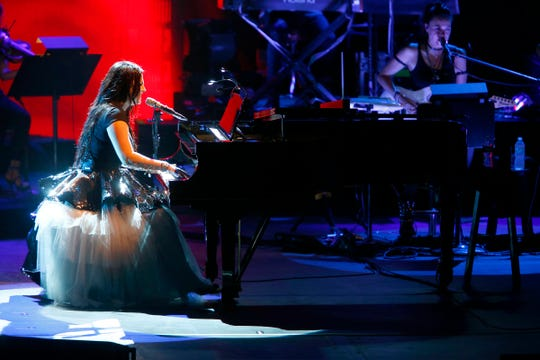 Amy Lee fronts Evanescence during their show at the PNC Bank Arts Center in Holmdel Friday night, August 10, 2018,
