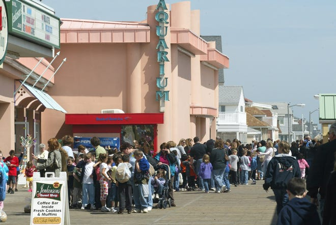 Visitors on line to enter Jenkinson's Aquarium, on the Boardwalk in Point Pleasant Beach.