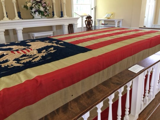 One of the antique American flags recently on display at Allaire Village.