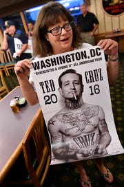 Denise Vannoy holds the poster she brought for U.S. Sen.Ted Cruz on Aug. 9, 2018. The picture is a composite made by Los Angeles artist Sabo. Cruz spoke to and greeted supporters at a town hall meeting at Underwood's Cafeteria in Brownwood.