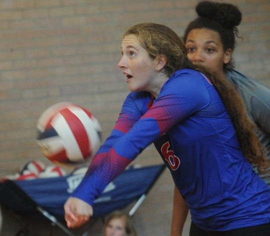 Cooper's Honna Turner digs an El Paso Horizon shot. Cooper won the consolation semifinals match 25-20, 21-25, 25-17 during Gold Bracket play at the Bev Ball Classic on Saturday, Aug. 11, 2018 at Cougar Gym.
