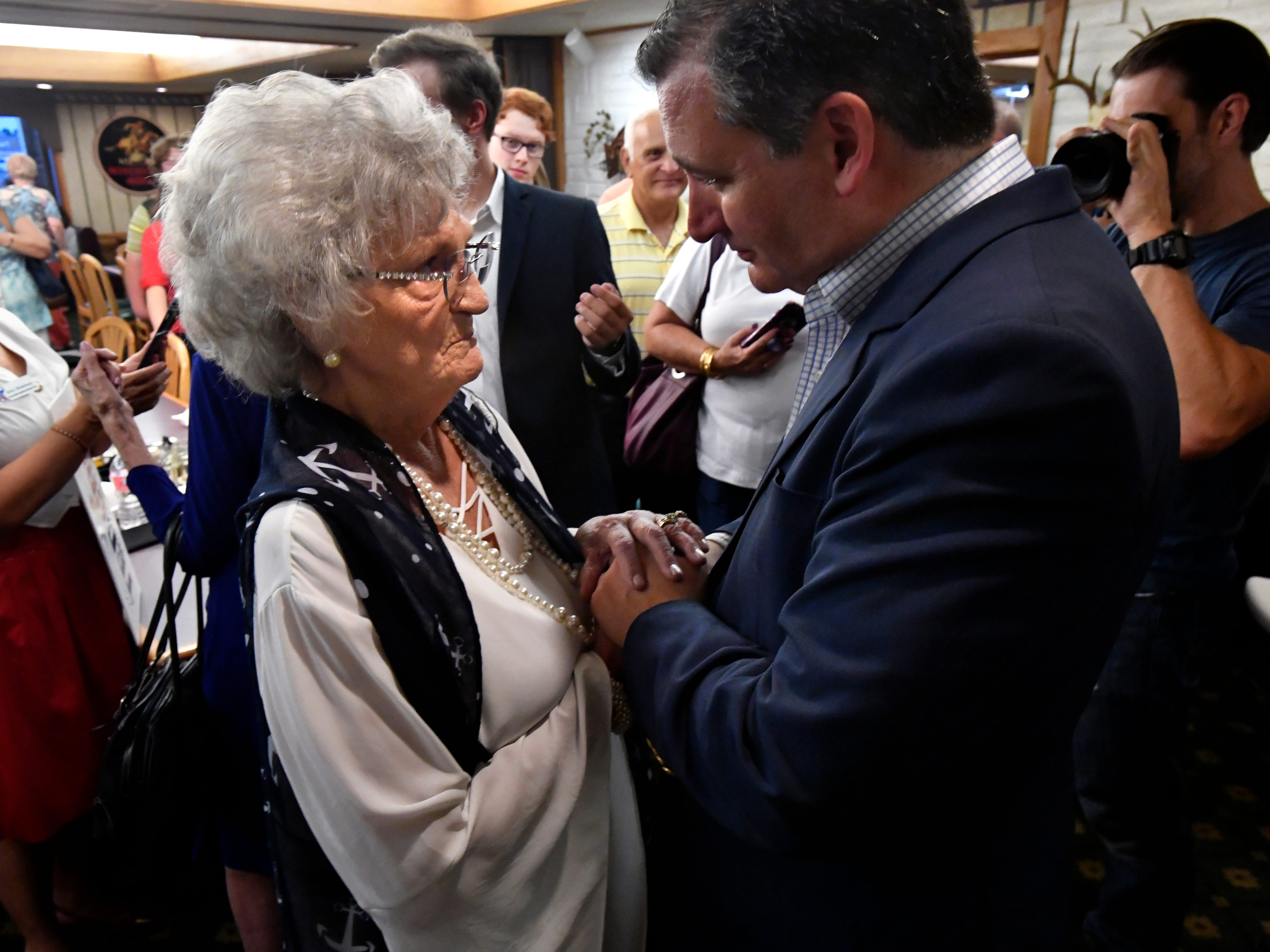 Iva Harris is greeted by Senator Ted Cruz at the conclusion of his town hall meeting in Brownwood Thursday August 9, 2018. Cruz spoke to and greeted supporters for over 90 minutes at Underwood's Cafeteria.